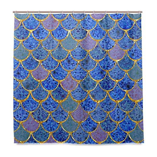 ZOEO Duschvorhang Kulisse Königsblau Meerjungfrau Schuppen geometrische Rhombus Badezimmer Duschvorhang Set Stoff Braut 12 Haken für Frauen 183 x 183 cm