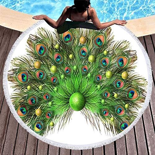 Mdsfe 3D gedruckte Pfau Erwachsenen Mikrofaser runde Strandtuch Sommer Quaste Yogamatte - 7.150x150cm