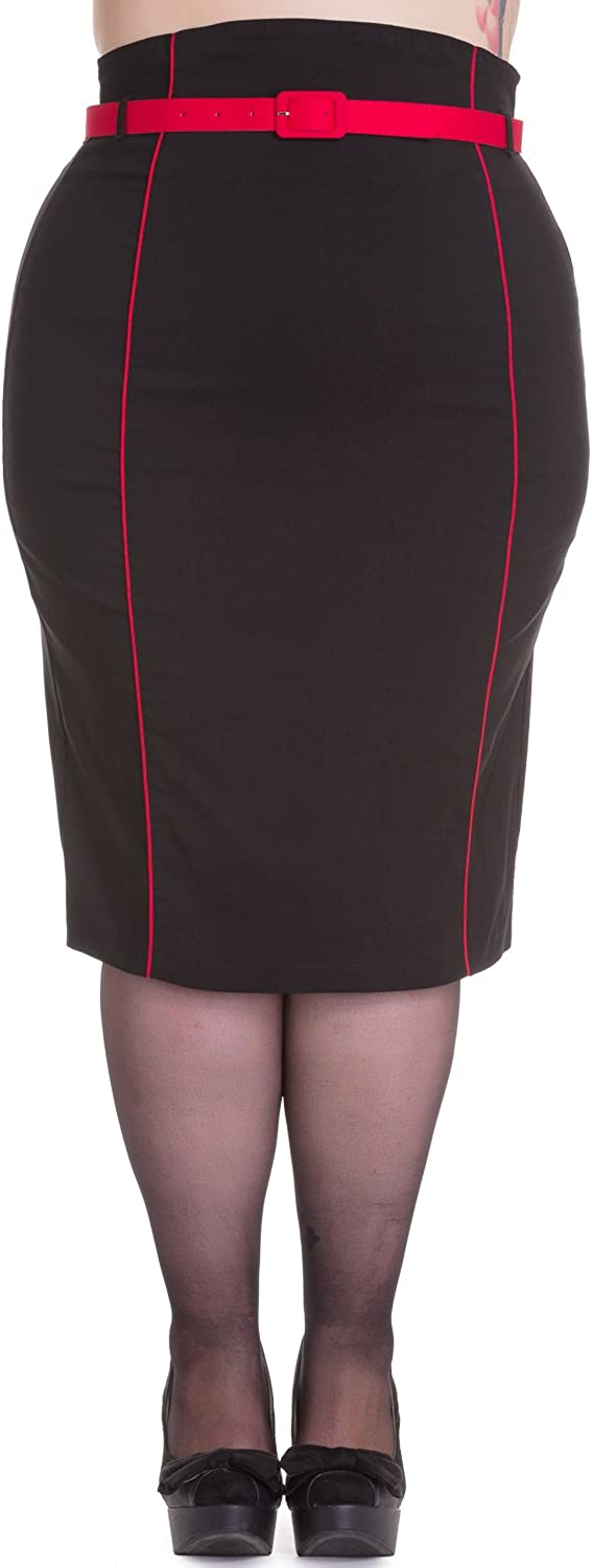 Hell Bunny Plus Pinup Contrast Piping Black Fitted Wiggle Pencil Skirt with Belt