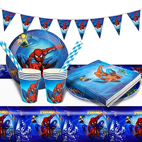 Gxhong Decoracion Cumpleaños Spiderman,52pcs Vajilla de Fiesta Cumpleaños Superheroes Decoración de Fiestas con Temática de los Vengadores Servilletas Papel,Vasos,Platos,Manteles,para Cumpleaños Niños