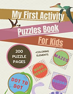 My First Activity Puzzles Book For Kids: Mind Health Sudoku Mazes Dot To Dot Search Words