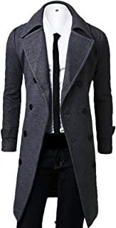 Men's Double Breasted Turn Down Collar Slim Woolen Overcoat