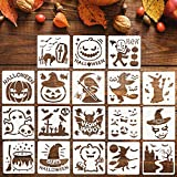 Adurself 18 Pieces Halloween Stencils Template DIY Halloween Designs Drawing Stencils for Face Painting DIY Template on Wood, Fabric, Pumpkin, Window, Glass, Airbrush, Walls (5.1 x 5.1 in)