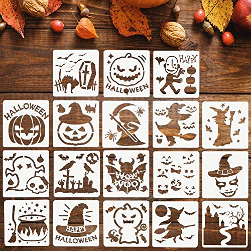 Adurself 18 Pieces Halloween Stencils Template DIY...