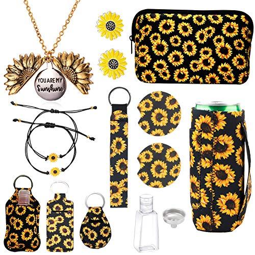 12PCS Sunflower Accessories,Sunflower Gift Box,Sunflower Necklace,Sunflower Bracelet,Sunflower Earrings,Sunflower Makeup Bag,Lipstick Holder Keychain,Wristlet Keychain,Slim Can Holder,Car Coaster