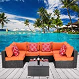 HTTH 7-Piece Outdoor Rattan Wicker Sectional Conversation Sofa Garden Furniture Set Bistro Sets with Coffee Table and 2PC Red Pillow for Porch Poolside Backyard (Orange)