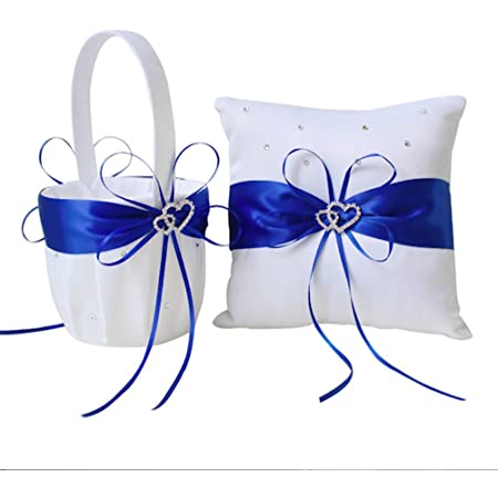 Original ring pillow Royal Blue and white with pink