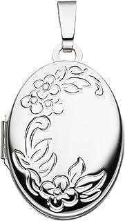 Medaglione per 2 foto, ciondolo apribile, motivo floreale, ovale, oro bianco 585