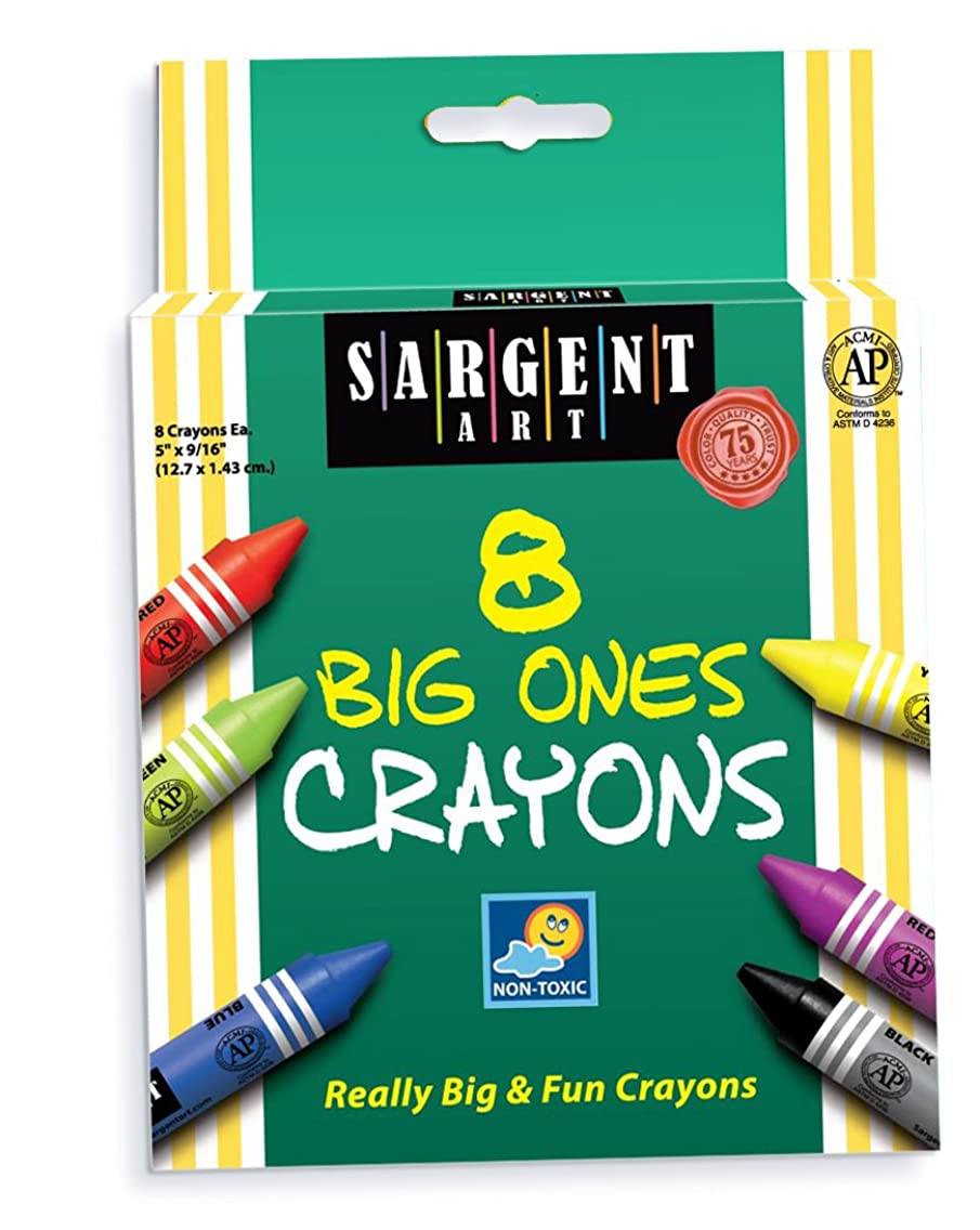 Sargent Art 22-0589 5-Inch by 9/16-Inch The Big Ones-8-Crayons and Peggable
