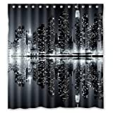 Lawrence Unique And New York Skyline Black And White Shower Curtain With Hooks Custom Printed Waterproof Fabric Polyester Bath Curtain Inchesbathroom Decor Shower Curtain With Hooks 66x72 inch