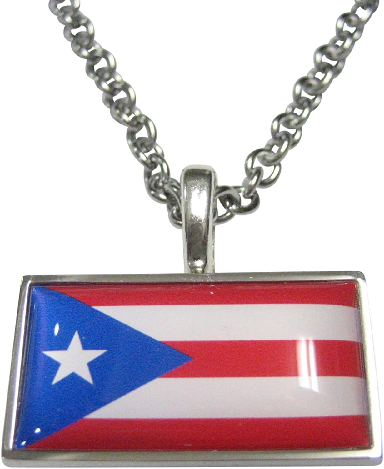Thin Bordered Commonwealth of Puerto Rico Flag Pendant Necklace