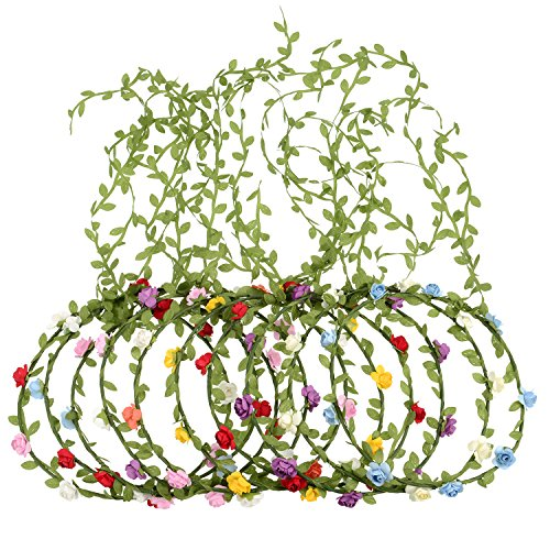 eBoot 10 Pieces Multicolor Flower Crown Floral Wreath Headband Floral Garland Headbands for Festival Wedding Party