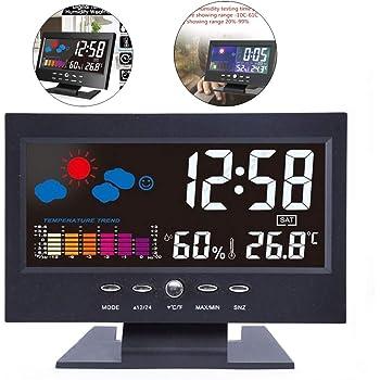 Telefunken – Despertador digital LCD DCF con termómetro, indicador de temperatura y calendario automático. Cambio de hora blanco FUD-25H (W): Amazon.es: Hogar