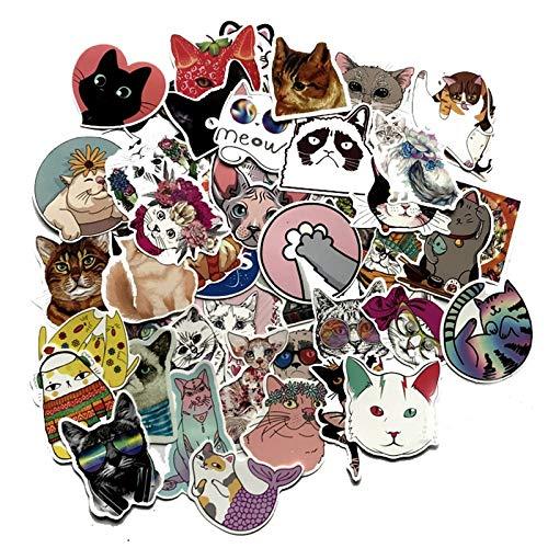 XXCKA Pegatina de Grafiti de Animales con Gatos Lindos, Juguetes de Estilo Mixto para Maleta, portátil, Bicicleta, Equipaje, Coche, Scooter, monopatín, calcomanías, 50 Uds.