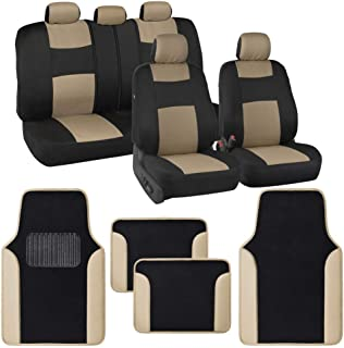 BDK Combo Car Seat Covers (2 Front 1 Bench) Auto Carpet Floor Mats (4 Set) with Heavy Protection Sleek Graphic Two Tone Fresh Design All Protective - Beige Accent