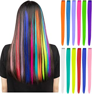 12 Pcs Colored Party Highlights Colorful Clip in Hair Extensions 22 inch Straight Synthetic Hairpieces for Women Kids Girl...
