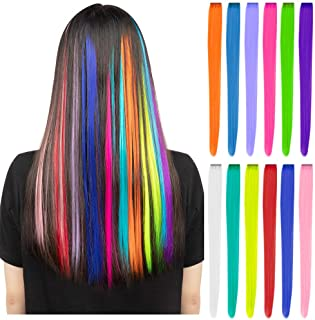 12 Pcs Colored Party Highlights Colorful Clip in Hair Extensions 22 inch Straight Synthetic Hairpieces for Women Kids Girls, Rainbow