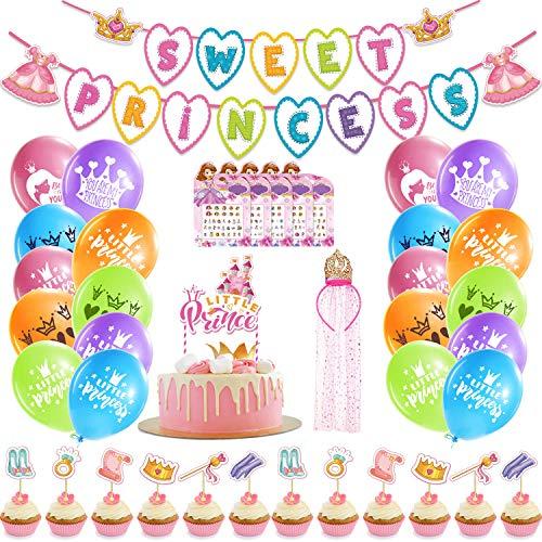 KOLADEK Decoracion Cumpleaños, Globos de Cumpleaños Pancarta de Cumpleaños Contento Tema de cumpleaños de Princesa (Rosa)