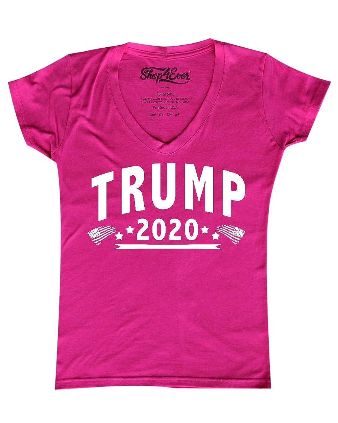 Shop4Ever Trump 2020 Women's V-Neck T-Shirt President Shirts Slim FIT