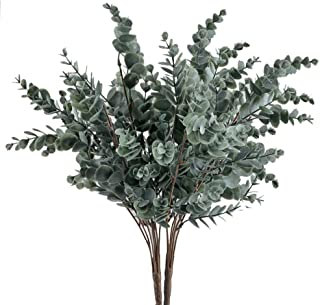 GTIDA 2PCS Fake Eucalyptus Branch Outdoor Artificial Greenery Plants Faux Plastic Shrubs Home Office Table Centerpieces Arrangements Garden Patio Yard Decor
