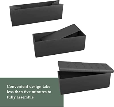Everlane Home Foldable Bench Seat Storage Ottoman with Square Tufting, Grey