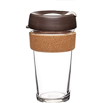KeepCup Brew Cork Reusable Glass Coffee Travel Mug | Medium 12oz 340ml, Fika