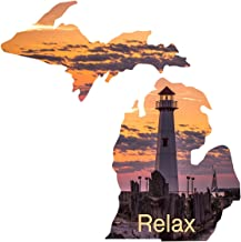 product image for Next Innovations - Michigan State Shape - Relax Lighthouse - Metal Wall Art - Made in USA - Powder Coated - Color Infused - Steel (101410032-RELAX)