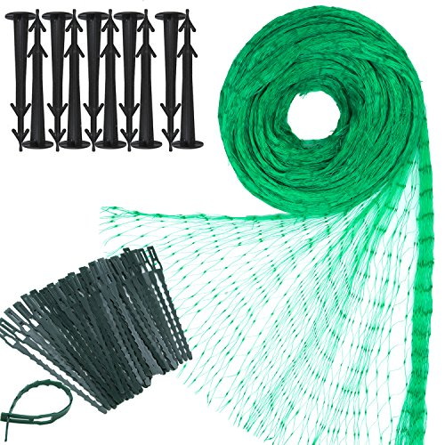 Elcoho 2m × 10m Green Anti Bird Net Garden Plant Mesh Netting Protect Against Rodents Birds with 50 Pieces Nylon Cable Ties and 10 Pieces Garden Securing Pegs for Garden or Farm Supplies