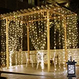 LE 306 LED Curtain Lights Mains Powered, 3m x 3m Warm White Bedroom Fairy Lights, 8 Modes, String Lights Plug in for Indoor Outdoor, Wedding Decorations, Party, Gazebo and More