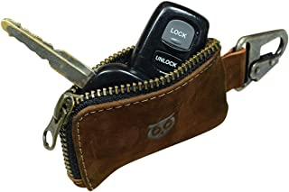 Hide & Drink Leather Car Key Holder/Headphone & Charging Cables/Memory Cards/Flash Drives/Cash Zipper Case with Clasp Hand...