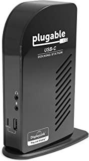 Plugable USB-C Triple Display Docking Station with Charging Support/Power Delivery for Specific Windows USB Type-C and Thunderbolt 3 Systems