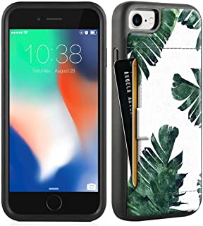 ZVE Wallet Case for Apple iPhone 8 and iPhone 7, 4.7 inch, Slim Leather Wallet Case with Credit Card Holder Slot Pocket Protective Case Cover for Apple iPhone 7/8 - INS Leaf