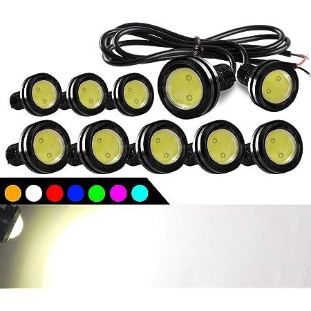 2x 18mm LED Eagle Eyes White Round Button Lights Truck DRL Side Marker Lights Fog Lights Daytime Running Lights