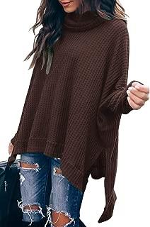 Women Turtleneck Oversized Waffle Knit Batwing Sleeve Loose High Low Hem Side Slit Pullover Sweater Tunic Tops