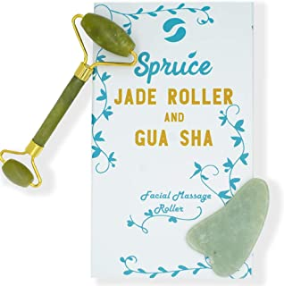 Jade Roller Gua Sha Full Set Massage Tool - Beauty Skin Care - Remove Wrinkles - Improve Skin Health - Natural Jade Stone by Spruce