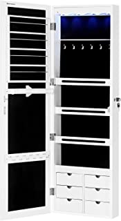"""SONGMICS Extended 4.9"""" Depth LED Jewelry Cabinet Armoire christmas gifts for women with 6 Drawers Lockable Door/Wall Mount..."""