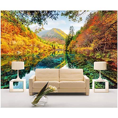 Wffmx Benutzerdefinierte Foto 3D Tapete Herbstlaub Seeufer Landschaft Wohnzimmer Wohnkultur 3D Wandbilder Tapete Für Wände 3 D-350X245Cm