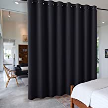 RYB HOME Room Divider Screen Partitions Curtains Blackout Privacy Curtain Panels W 15 x L 9 Black USRYBLKRDIVIDER-T9W15-A05