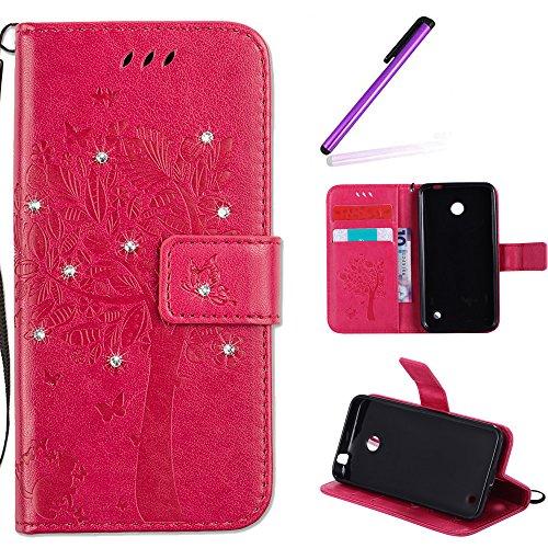 EMAXELERS Nokia Lumia 630 Hülle PU Lederhülle Bookstyle Handyhülle Flip Glitzer Asche Brieftasche Bumper mit Kartenfächer Wallet Tasche Etui für Nokia Lumia 630/635,Diamond Rose Wishing Tree