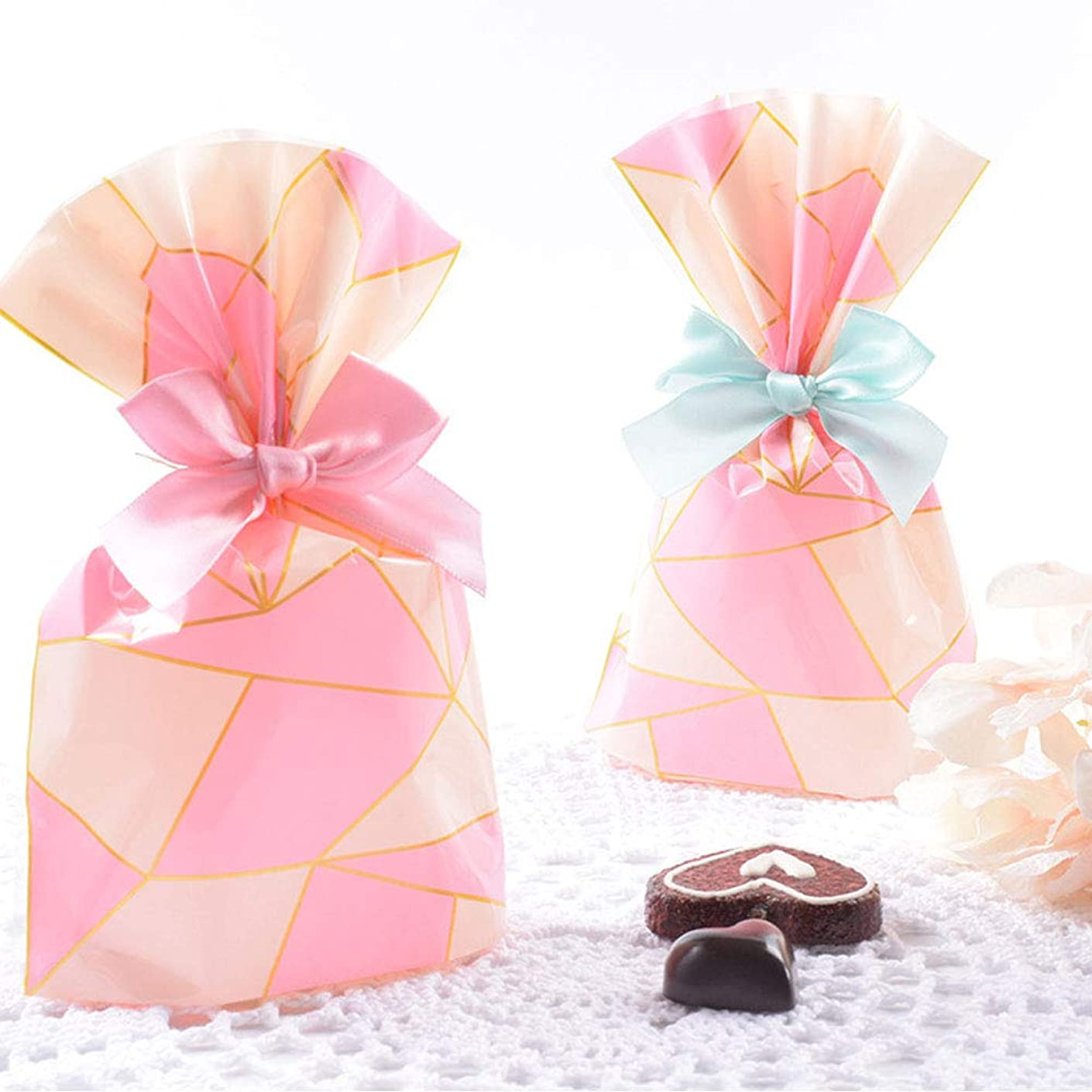 YESON Pink Lattice Clear Cello Bags Candy Plastic Favor cellophane Treat Bags,Pack of 50