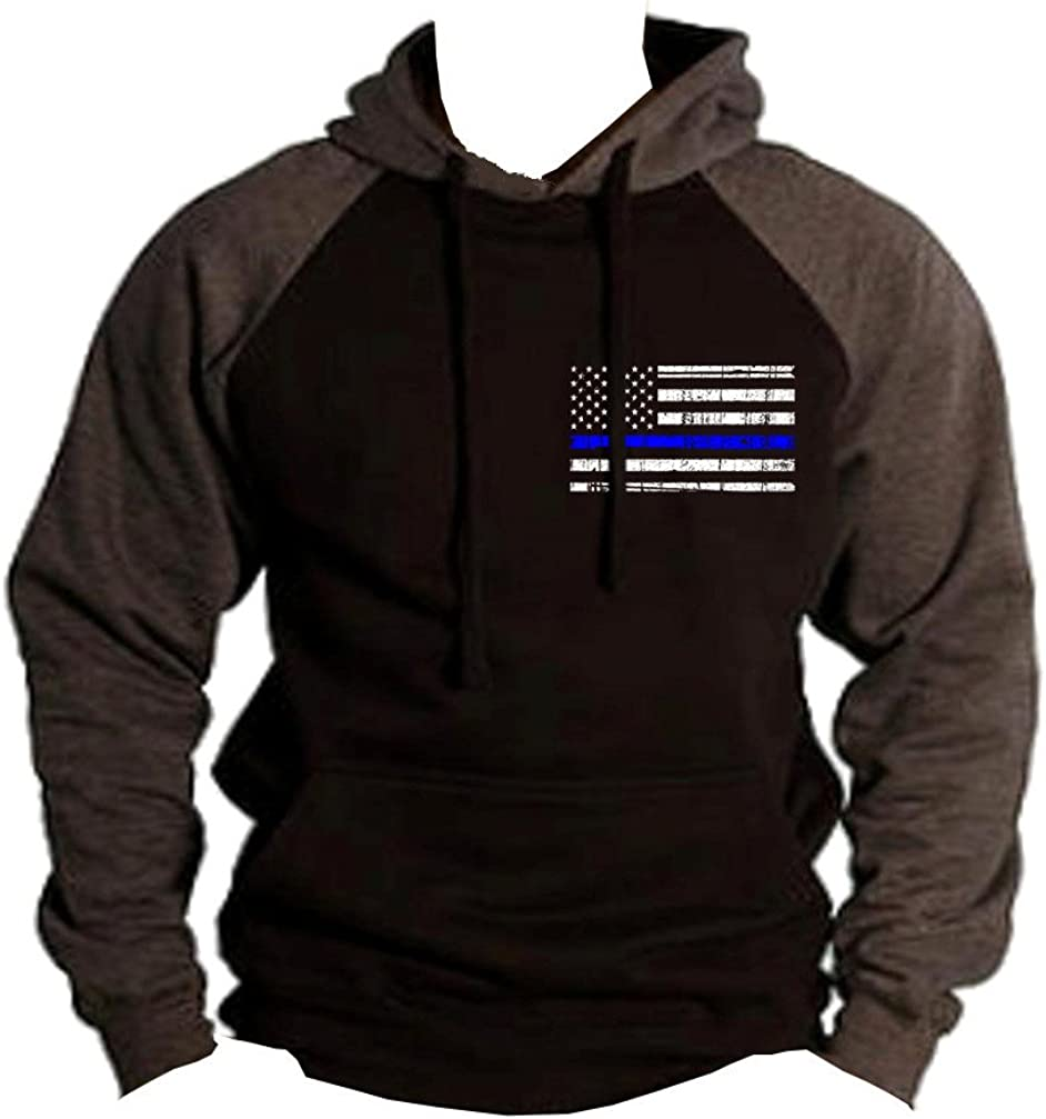 Lowest price challenge Interstate Apparel Men's Thin 100% quality warranty! Blue Police Line Black Flag Charco