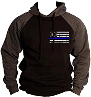 Interstate Apparel Men's Thin Blue Line Police Flag Black/Charcoal Raglan Baseball Hoodie Sweater Black