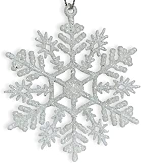 BANBERRY DESIGNS White Glitter Snowflake Ornaments - Pack of 12 Shatterproof Snowflakes - 5