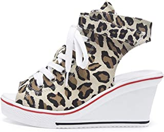 b38a6e6af96441 Sokaly Femme Sandales Eté Chaussure Compensées Plateforme Chaussure de  Tennis Casuel Fashion Imprimé Leopard Haute Talon