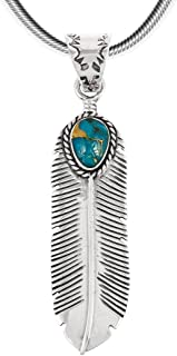 "Turquoise Feather Pendant Necklace in Sterling Silver 925 & Genuine Turquoise (20"" Length)"