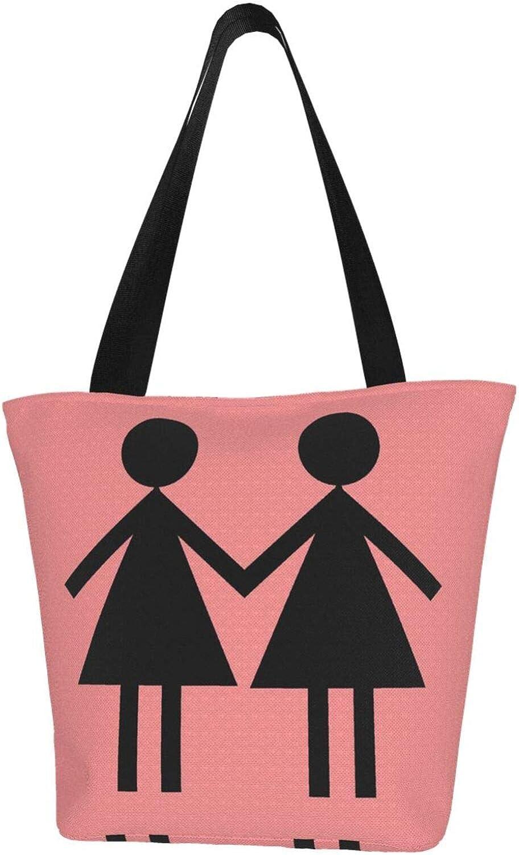 Pink Girl Couple Gay Themed Printed Women Canvas Handbag Zipper Shoulder Bag Work Booksbag Tote Purse Leisure Hobo Bag For Shopping