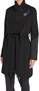 BCBGeneration Black Mixed Media Fringe Wrap Coat