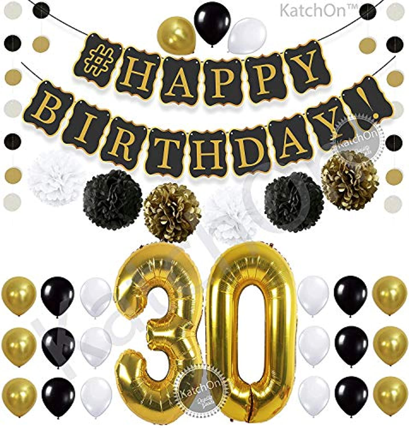 Black 30th Birthday Decorations Party KIT - Black Gold and White Paper Pompoms| Latex Balloons | Gold Number 30 Ballon | Circle Garland | 30th Birthday Balloons | 30 Years Old Birthday Party Supplies
