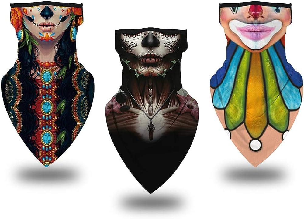 Face Bandana Mask with Ear Loops Neck Gaiter Face Scarf Sun UV Protection Balaclava for Men Women