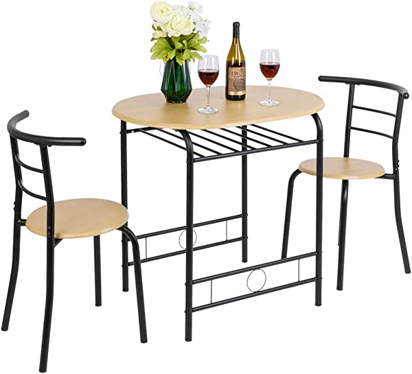 FCH 3 Piece Dining Set Dining Table With 2 Chairs Breakfast Bistro Pub Table And 2 Chairs Natural
